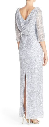 Kay Unger Sequin Lace Column Gown
