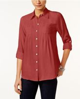 Style&Co. Style & Co Petite Roll-Tab Shirt, Only at Macy's