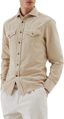 Brunello Cucinelli Men's Corduroy Western Snap-Front Shirt