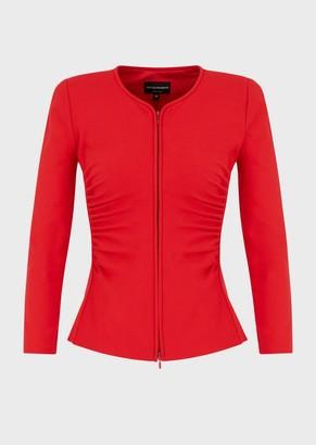 Emporio Armani Stretch Jacket In Milano Stitch Fabric