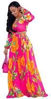 Nuofengkudu Womens Chiffon Deep V-Neck Printed Floral Maxi Dress Unique Loose Summer Boho Dresses High Waisted (Rose)