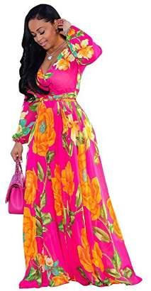 Nuofengkudu Womens Chiffon Deep V-Neck Printed Floral Maxi Dress Unique Loose Summer Boho Dresses High Waisted ()