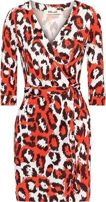 Diane von Furstenberg Julian Leopard-print Silk-jersey Mini Wrap Dress