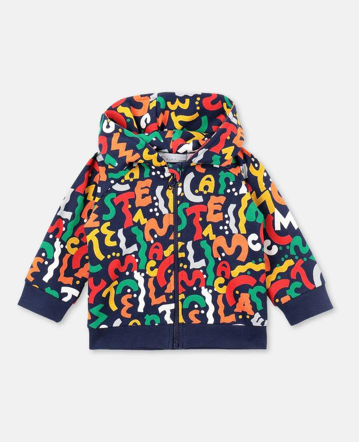Stella McCartney Letters Zip-Up Cotton Hoodie, Unisex