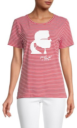 Karl Lagerfeld Paris Stripe Silhouette T-Shirt