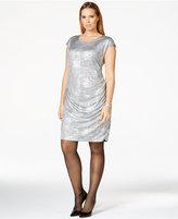 Calvin Klein Plus Size Metallic Silver Side-Shirred Dress