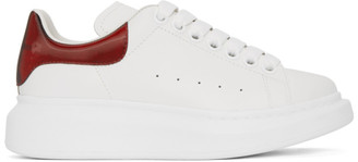 Alexander McQueen White and Red Iridescent Oversized Sneakers