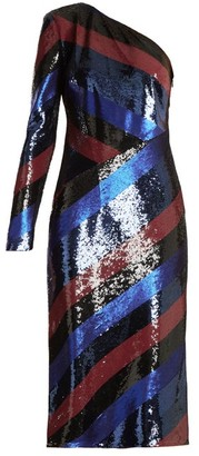 Diane von Furstenberg One-shoulder Striped Sequin Dress - Navy Stripe