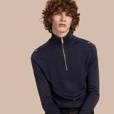 Burberry Zip-collar Merino Wool Sweater