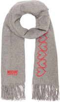 Moschino Heart & Logo Embroidery Wool Scarf