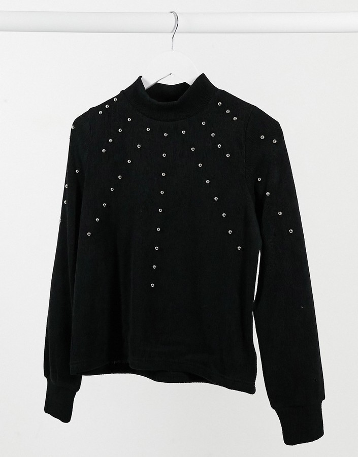 Thumbnail for your product : Pimkie washed sweat with stud detail in black