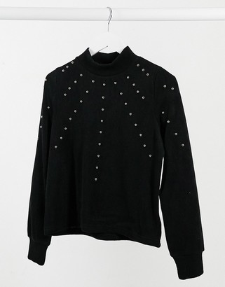 Pimkie washed sweat with stud detail in black