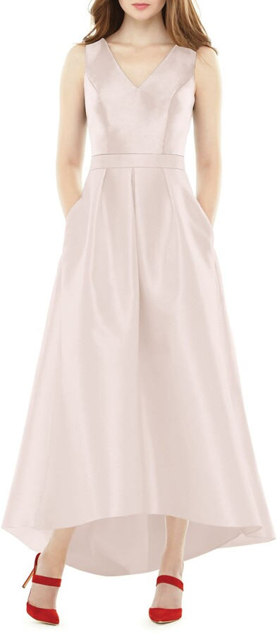 Alfred Sung Satin High/Low Gown