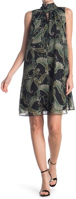 London Times Paisley Print High Neck Swing Dress