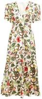 Borgo de Nor Lucia Garden-print Silk-twill Midi Dress - Womens - White Multi
