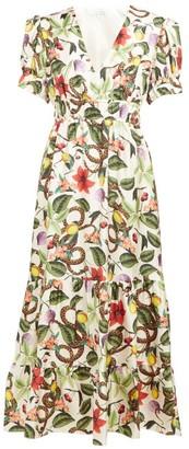 Borgo de Nor Lucia Garden Print Silk Twill Midi Dress - Womens - White Multi