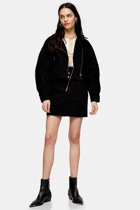 Topshop IDOL Flocked Leopard Asymmetric Zip Front Skirt