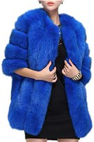 RACHELJP Women Winter Faux Fox Fur Coat Overcoat Warm Middle Length Outwear