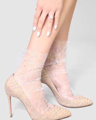 High Heel Jungle - Women's White Socks - Crystal Lace Sock - Size One Size, One size at The Iconic