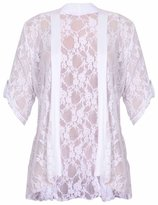Xclusive Collection Womens Plus Size Lace Diamonte Detail Cardigan Lace Bolero Shrug Top