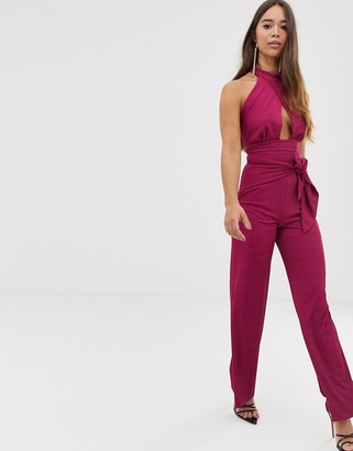 Love tie front rib trouser in berry-Pink