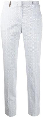 Peserico Tapered Herringbone Print Trousers