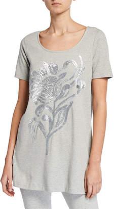 Joan Vass Sequin Flower Short-Sleeve Cotton Interlock Tunic