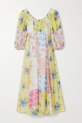 LoveShackFancy Roslyn Patchwork Floral-print Silk-georgette Midi Dress - Yellow