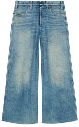 Gucci Denim wide-leg trousers with patches