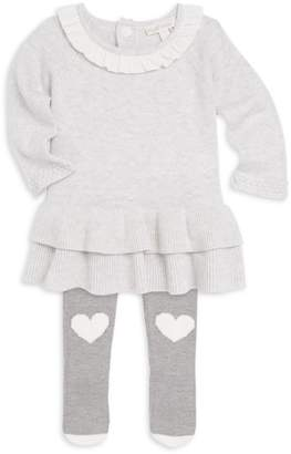 Miniclasix Baby Girl's Ruffle Hem Sweater Dress & Leggings Set