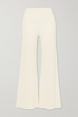 Chloé Ribbed Wool-blend Flared Pants - White