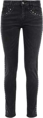 Just Cavalli Sequin-embellished Distressed Mid-rise Skinny Jeans