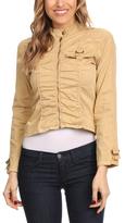Khaki Casual Crop Jacket
