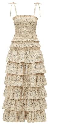 Sachi Sir Tiered Floral-print Maxi Dress - Womens - Cream Multi