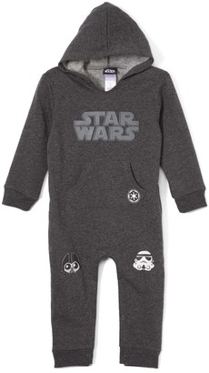 Children's Apparel Network Boys' Coveralls - Star Wars Charcoal Hooded Playsuit - Newborn & Infant