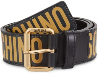 Moschino Graphic Logo Leather Belt