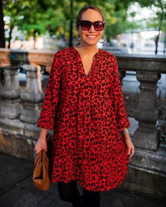The Drop Women's Loose-Fit Fiery Orange Animal Print Tiered Dress by @graceatwood XXS