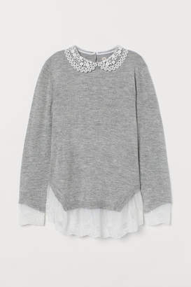 H&M Fine-knit Sweater with Lace - Gray