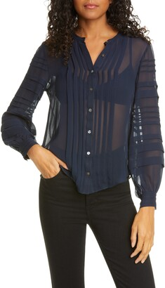 Rebecca Taylor Pintuck Long Sleeve Silk Chiffon Blouse