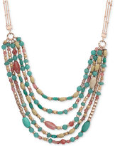 Nine West Rose Gold-Tone Multi-Row Beaded Collar Necklace