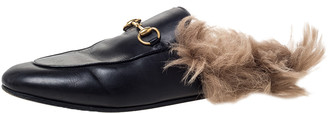 Gucci Black Leather Fur Lined Princetown Flat Mule Loafers Size 39