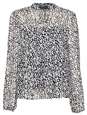 Dorothy Perkins Womens Monochrome Printed Tiered Long Sleeve Top