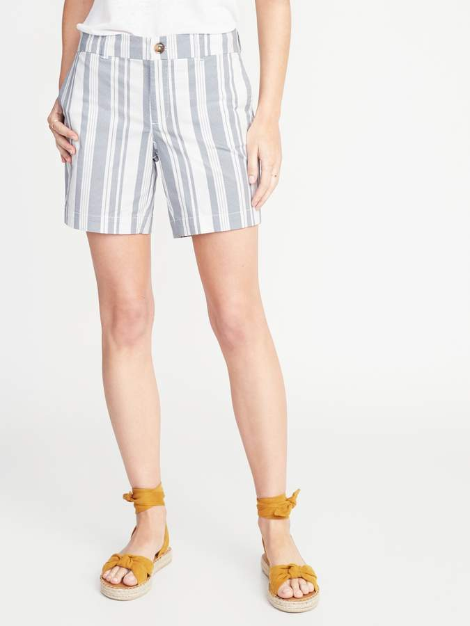 ec31039447 Mid-Rise Striped Twill Everyday Shorts for Women - 7-inch inseam