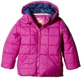 Puffa Girl's Core Hooded Plain Coat, Fuchsia Pink