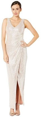 Calvin Klein V-Neck Sequin Gown with Ruched Side (Champagne/Blush) Women's Dress