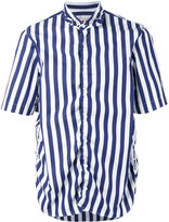 Marni ruched side striped shirt - men - Cotton - 46
