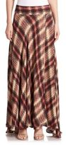 Haute Hippie Chevron Plaid Silk Maxi Skirt