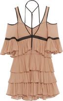 Cinq a Sept Blair Cold-Shoulder Tiered Silk-Chiffon Mini Dress
