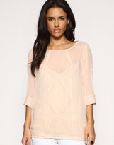 ASOS Crop Sleeve Crochet Trim Chiffon Blouse