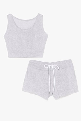 Nasty Gal Womens You and Me Crop Top and Shorts Set - Grey - M/L, Grey